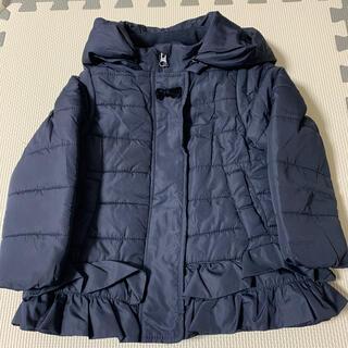 petit main - プティマイン 100 裾フリル中綿ジャケット紺