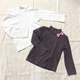エニィファム(anyFAM)のハイネック カットソー 白 パープルグレー 2枚セット★100(Tシャツ/カットソー)