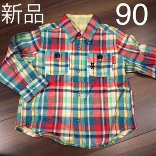 ミキハウス(mikihouse)のミキハウス リバーシブル チェックシャツ 90cm  (Tシャツ/カットソー)