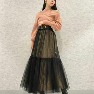 Lily Brown - LilyBrown リリーブラウンチュールロングスカート ブラック