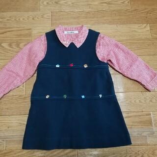 familiar - ファミリア ワンピース&赤チェックシャツ90 セット