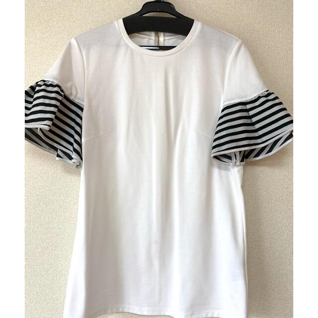 BARNEYS NEW YORK(バーニーズニューヨーク)のBORDERS at BALCONY ボーダーズアットバルコニー ラッフルT レディースのトップス(Tシャツ(半袖/袖なし))の商品写真