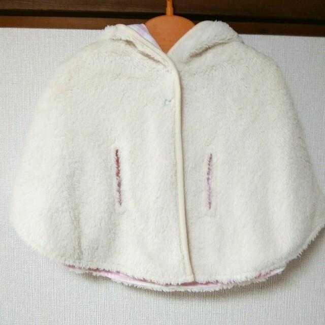 agnes b.(アニエスベー)のアニエスベー T2  子供服 ベビー 女の子 新品 ポンチョ アウター ボア キッズ/ベビー/マタニティのベビー服(~85cm)(ジャケット/コート)の商品写真
