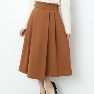 ViS - VIS ビス ベルト付きラップ風 ミモレ丈スカート キャメル