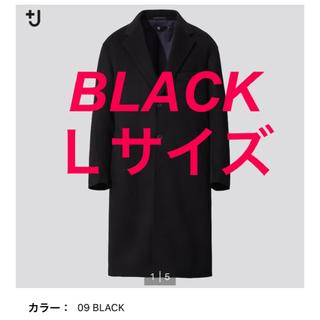 UNIQLO - カシミヤブレンドオーバーサイズチェスターコート +J ユニクロ ブラック