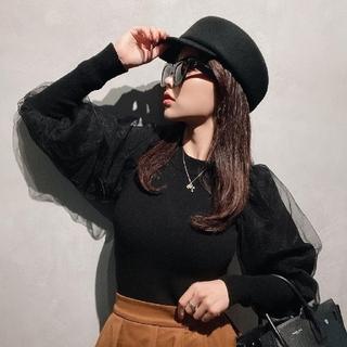 eimy istoire - eimyistoire☆スリーブチュールニット☆ブラック