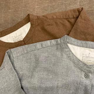 MUJI (無印良品) - 【2枚セット】無印良品 新疆綿フランネルスタンドカラーシャツ