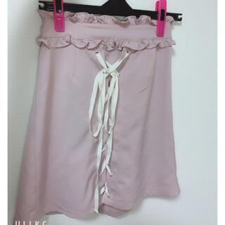 アンクルージュ(Ank Rouge)のアンクルージュ スカート ピンク レースアップ リボン 台形スカート (ミニスカート)