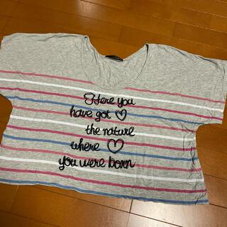 ヘザー(heather)のHeather ヘザー Tシャツ トップス ボーダー グレー シンプル(Tシャツ(半袖/袖なし))