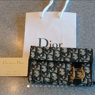 クリスチャンディオール(Christian Dior)のDior☆人気トロッター柄 財布ラウンドファスナー小銭入れ【ブラックCOLOR】(財布)