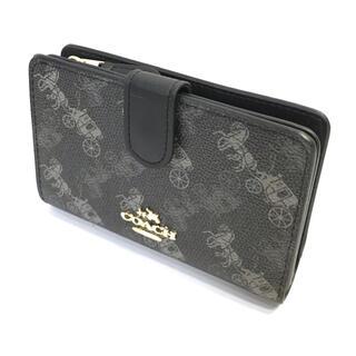 COACH - コーチ COACH黒、ブラックにコーチロゴのホースとキャリッジ 柄の折財布