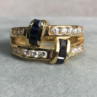 585(K14) ホワイサファイア  ブルーサファイア リング(リング(指輪))