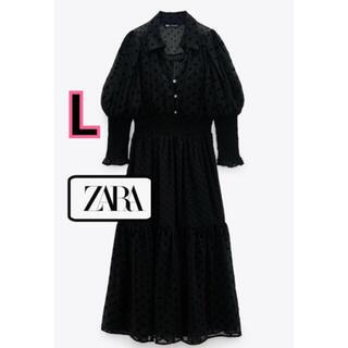 ZARA - 新品♡ZARA 大人気完売 シャーリング ドルマン マキシワンピース ドット柄