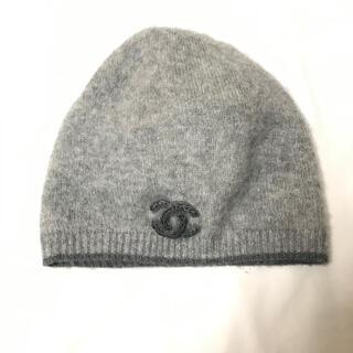 シャネル(CHANEL)の新品同様 CHANEL ココマーク カシミヤ シルク ニット帽 ハット シャネル(ニット帽/ビーニー)