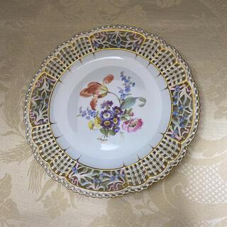 MEISSEN - ★お取置き【古マイセン】花絵飾り皿/淡く、優しい透かし