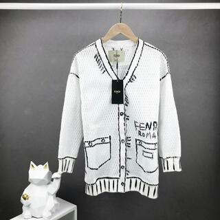 フェンディ(FENDI)のフェンディ FENDIカーディガン 透かし雕りジャケット ホワイトs-l(カーディガン)