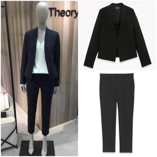 セオリー(theory)の theory ノーカラージャケット パンツスーツ TAILOR 黒 サイズ4(スーツ)