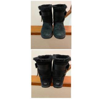 アグ(UGG)のUGG  ムートンリボンブーツ 25cm 黒(ブーツ)
