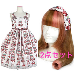 Angelic Pretty - Strawberry Doll シロ JSK セット