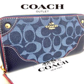 COACH - プレゼントにも❤️新品コーチ正規品デニム×レザー ラウンドファスナー長財布