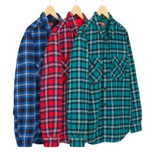 Supreme - M Supreme Arc Logo Quilted Flannel Shirt