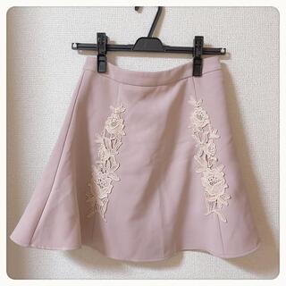 エブリン(evelyn)のevelyn 花柄刺繍台形スカート(ミニスカート)