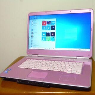 エヌイーシー(NEC)の綺麗可愛いピンクカラー 16型ワイド大画面 高速デュアルコア 最新win10(ノートPC)