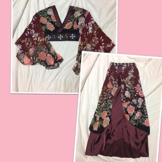 デイジーストア(dazzy store)の花魁ドレス dazzy store 蝶×花柄 コスプレ 和柄 上下セットアップ (コスプレ)
