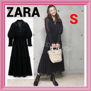 ZARA - 完売品 ZARA スイスドット柄ミディ丈ワンピース レース 水玉 黒  6