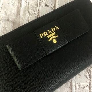 PRADA - プラダ デカリボン付 長財布 センタージッパー ネロブラック