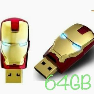アイアンマン USBメモリー 64GB スライド式 LEDライト(PC周辺機器)