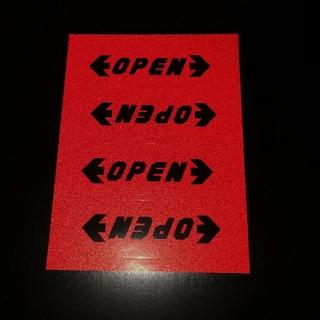【レッド】反射ステッカー シール テープ 警告 OPEN ラベル(車内アクセサリ)