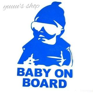 【ブルー】baby on board ステッカー シール ベビーインカー(車外アクセサリ)
