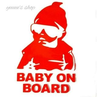 【レッド】baby on board ステッカー シール ベビーインカー(車外アクセサリ)