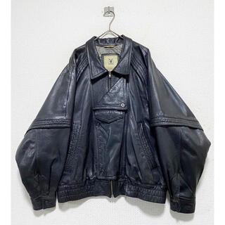 Yohji Yamamoto - 珍品 vintage 90s play boy 黒 レザー ライダースジャケット