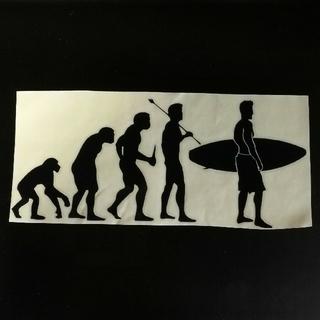 【ブラック/黒】人類進化 サーフィン ステッカー 車(ステッカー)