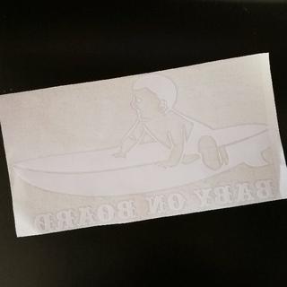 【ホワイト】baby on board サーフィン ベビーインカー ステッカー(車外アクセサリ)