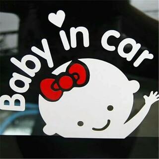 【女の子】Baby in car リボン  車 シール ステッカー ...(車外アクセサリ)