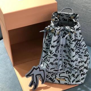 miumiu - ミュウミュウmiumiu巾着ポーチバッグ水色ツバメ柄バレンシアガPRADAマルニ