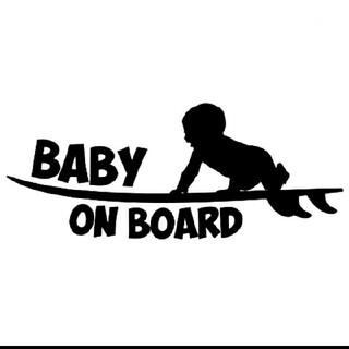 【ブラック】baby on board ベビー サーフ ステッカー(車外アクセサリ)