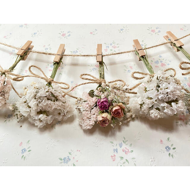 3種のピンクのバラのパステルピンクドライフラワーガーランド♡スワッグ♡ミニブーケ ハンドメイドのフラワー/ガーデン(ドライフラワー)の商品写真
