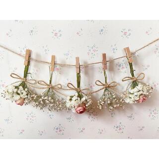 ホワイトかすみ草と淡いピンクのバラのドライフラワーガーランド♡スワッグミニブーケ(ドライフラワー)