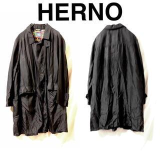 ヘルノ(HERNO)のHERNO ステンカラーコート シルク  ブラック モード(ステンカラーコート)
