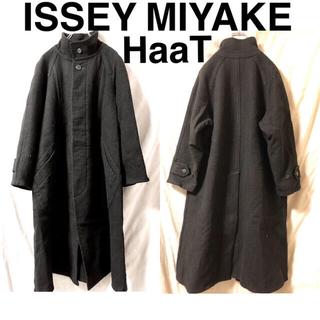 イッセイミヤケ(ISSEY MIYAKE)のISSEY MIYAKE HaaT ウールスタンドカラーコート ブラック(その他)
