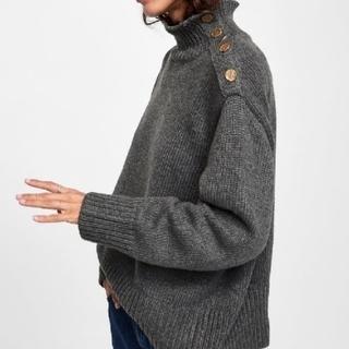 ZARA - ZARA ザラ ボタン付きセーター ハイネック ニット