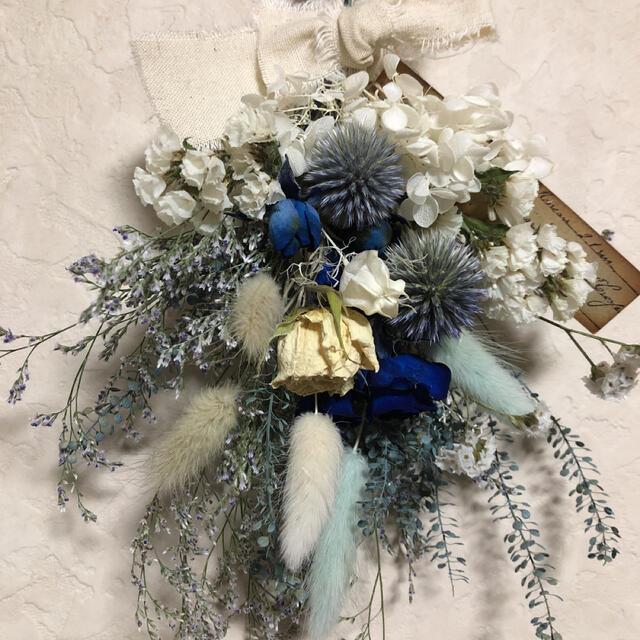 専用♡No.195 white*blue ドライフラワースワッグ♡ ハンドメイドのフラワー/ガーデン(ドライフラワー)の商品写真
