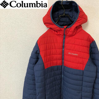 コロンビア(Columbia)のコロンビア ダウンパーカー ダウンジャケット 刺繍ロゴ レッド/ネイビー(ダウンジャケット)