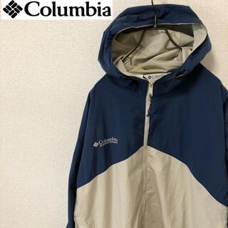 コロンビア(Columbia)のコロンビア マウンテンパーカー ビッグサイズ 刺繍ロゴ ブルー/グレー(ナイロンジャケット)