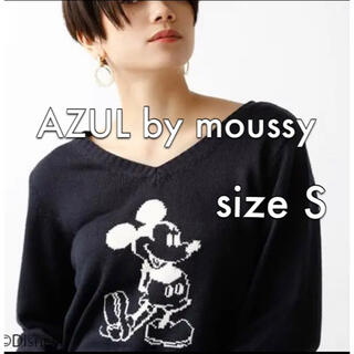 アズールバイマウジー(AZUL by moussy)のAZUL by moussy 前後着仕様 ミッキー ニット Sサイズ ネイビー(ニット/セーター)