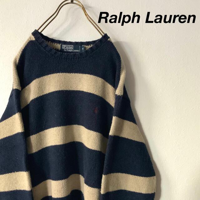 POLO RALPH LAUREN(ポロラルフローレン)のRalph Lauren  太ボーダー ローゲージ コットンニット メンズのトップス(ニット/セーター)の商品写真
